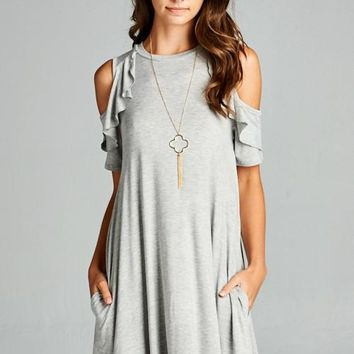 Cold Shoulder Casual Dress - Grey