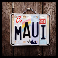 Maui, license plate, sign, hawaii , ocean, sea, beach, decor, travel, vacation, shells, sand, girls, 808, giftidea