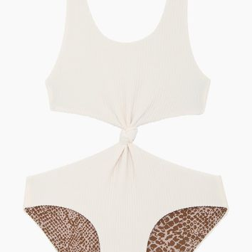 Colombia Front Knot One Piece Swimsuit (Kids) - Pearl Cord