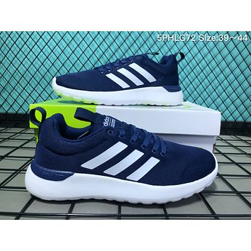 kuyou A031 Adidas Neo Cloudfoam Groove Knit Light Breathable Running Shoes Dark Blue