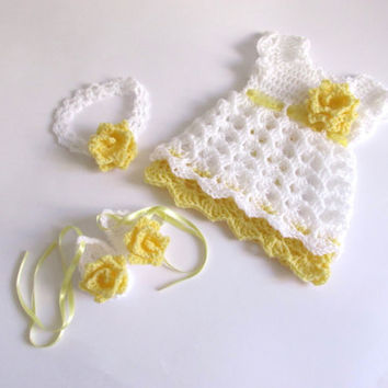 Crochet pattern 3 PATTERNS in one 4 SIZES Baby Dress  Shoes Headband Baby Dress Baby Dress Pattern  Baby Dress Baby clothes Newborn dress