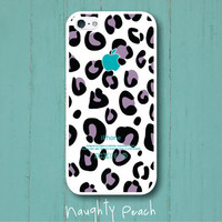 iPhone 5 Case - Purple leopard pattern (White case)