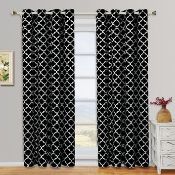 Black-White Meridian Thermal Insulated Room Darkening Window Curtain Panels (Two Panels )