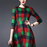 Multicolor Round Neck Long Sleeve Dress
