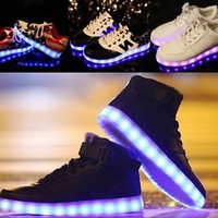 2017 Unisex LED Light Lace Up Luminous Shoes Sportswear Sneaker Luminous 5 Color