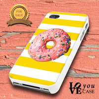 Yellow & White Stripes SPRINKLE DONUT  for iphone, ipod, samsung galaxy, HTC and Nexus PHONE CASE