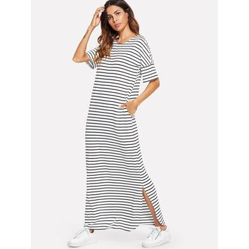 Side Striped Split Tunic Dress