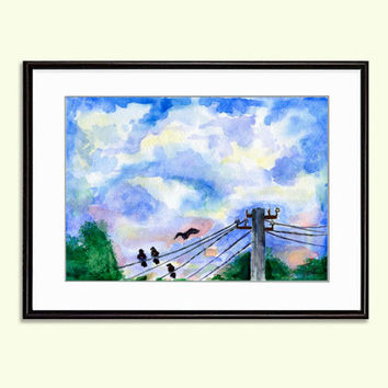 Power pole with wires birds and sky  Watercolor Printable Digital Download 2 sizes Poster Wall Decor Art Print INSTANT Download