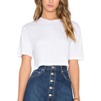 MONROW Keyhole Crop Tee in White