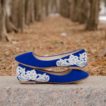 Wedding Shoes, Blue Flats, Blue Wedding Flats, Blue Bridal Flats, Bridal Shoes, Flat Wedding Shoes, Ballet Flats with Ivory Lace.US Size 6.5