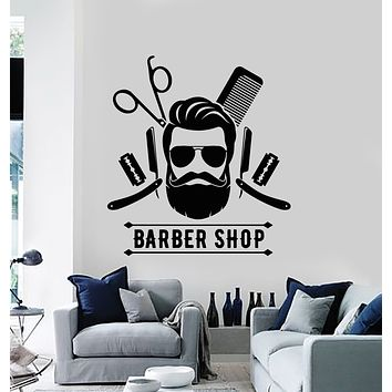 Vinyl Wall Decal Barber Shop Tools Stylist Hair Men's Haircut Barbershop Stickers Mural (g938)