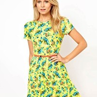 ASOS Skater Dress In Bright Neon Floral With Belt at asos.com