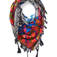 Mixed Print Tasseled Scarf