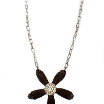 Lucy's Inspired Delicate Chain with Large Crystal Flower Pendant