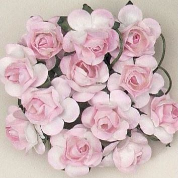 """Mini Paper Rose Bud Flowers with Stem in Cream Pink3/4"""" Wide x 5/8"""" Tall144 per Pack"""