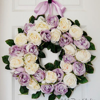 Lavender and Ivory Rose Wreath, Front Door Wreath, Wedding Wreath, Spring Wreath, Summer Wreath, Purple, White, Pastel Rose Wreath
