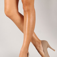 Qupid Trench-01 Nubuck Almond Toe Stiletto Pump