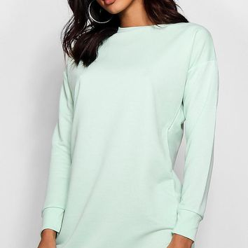 Zendaya Edit Round Neck Oversized Sweat Dress | Boohoo