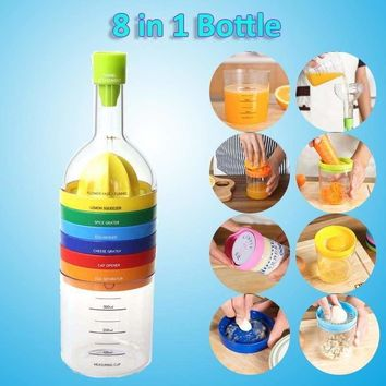 Multifunctional Kitchen Tool Bottle Shape Squeezer Grater Gadget Grinder 8 In 1 822427435766