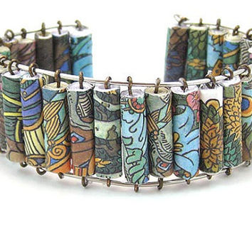 Paper bead jewelry - upcycled colorful fairytale paper bead bracelet