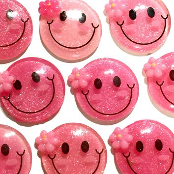 Pink glitter smiley face resin cabochon 25mm / 1-5 pieces