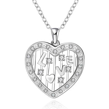 silver plated Chain love window heart Necklaces Pendants Men jewelry 642 MP