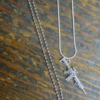 Unisex AR-15 Tactical Rifle Necklace for the Firearm Lover