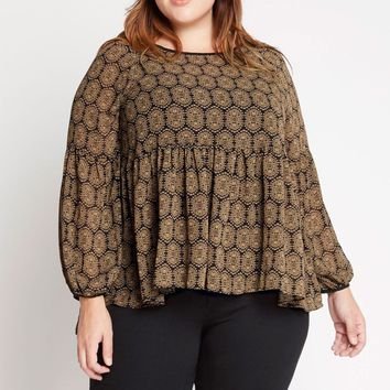Second Nature Printed Chiffon Peasant Top Plus Size