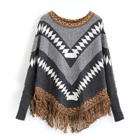 Geometric Print Fringed Knitted Sweater