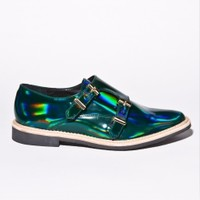 Miista Shoes / Victoria Brogue in Holographic Green | Thrifted & Modern