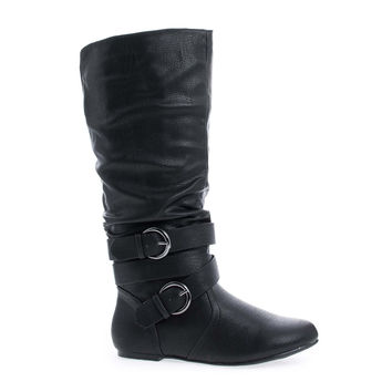 Kalisa94P Black Pu By Wild Diva, Mid Calf Internal Cell Phone Pouch Ankle Buckles Slouchy Boots