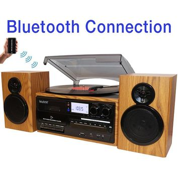 Boytone BT-28SPW, Bluetooth Classic Style Record Player Turntable with AM-FM Radio,