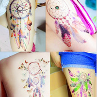 DaLin 4 Large Sheets Women Sexy Temporary Tattoos Dreamcatcher Feather Butterfly