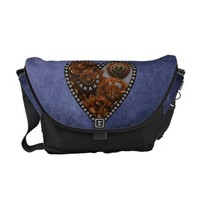 Grunge Steampunk Clocks and Gears Heart Messenger Bags