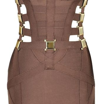 Clothing : Bandage Dresses :'Yasmin' Brown & Bronze Metal Cut Out Bandage Dress - As Seen On Lucy Meck