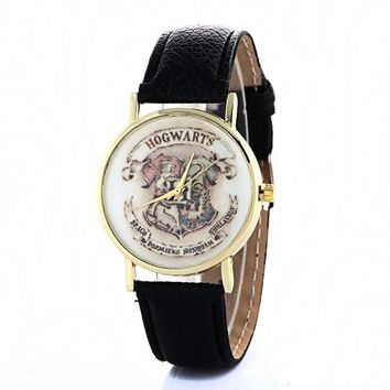 New Harry Potter Hogwarts School Design Magic School Watch,Magic Pattern Badges Leather Watch Unisex Watch relogio masculino
