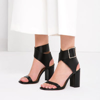 LEATHER SANDALS WITH BUCKLE - Heeled sandals-SHOES-WOMAN | ZARA United States
