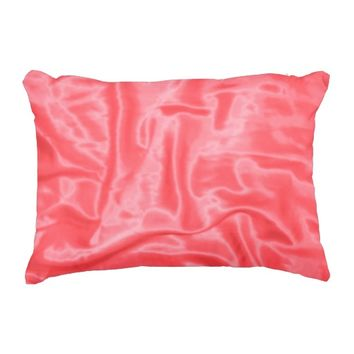 Coral Satin-Rectangular Accent Pillow