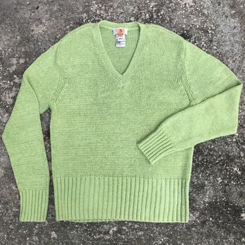 TALBOTS Women's Lime Green V-Neck Knitted Sweater Size Large