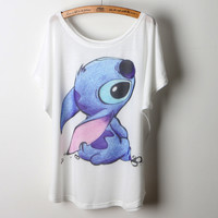 Personalized hand-painted cartoon Lilo & Stitch pattern home loose comfortable casual cute kawaii T shirt Women tops Tee,nt015