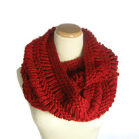 Red Infinity Scarf, Bulky Scarf, Circle Scarf, Knit Infinity Scarf,Winter Scarf, Cowl, Scarf,  Fashion,