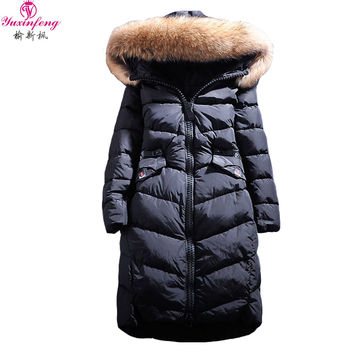 Women's Winter Jacket Fox Fur Hood Pockets Zipper Long Parkas Thick Warm Winter Duck Down Coats Pink Gray raccoon fur collar