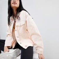Pull&Bear oversized denim jacket with pocket detail in pink at asos.com