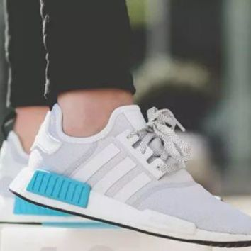 PEAPON ADIDAS NMD_R1 WHITE/BLUE CYAN (S31511) MEN TRAINERS SIZE U.K 11.5