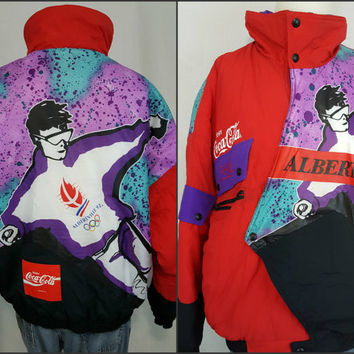 Vintage 1992 Albertville Winter Olympics Coca-Cola Ski Puffer Jacket Coat France - XL