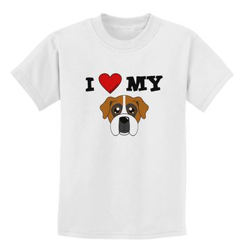 I Heart My - Cute Boxer Dog Childrens T-Shirt by TooLoud