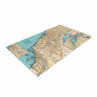 """Catherine Holcombe """"So Cal Surf Map"""" Beige Blue Woven Area Rug"""