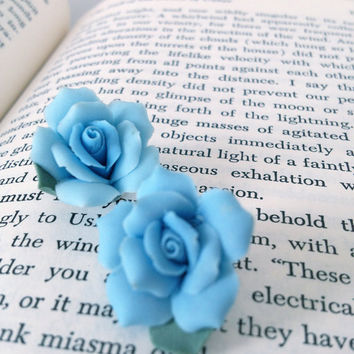 SALE 50 OFF Something blue rose vintage shoe by LilahVintage