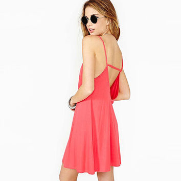 2016 Spring Summer Sexy Elegant Hot Low Cut Backless Pink Women One-piece Dress