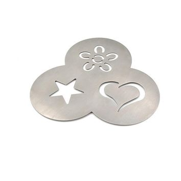 3 In 1 Stainless Steel Coffee Stencil Barista Essential Tools / Love Heart Flower Star Design & Durable Material